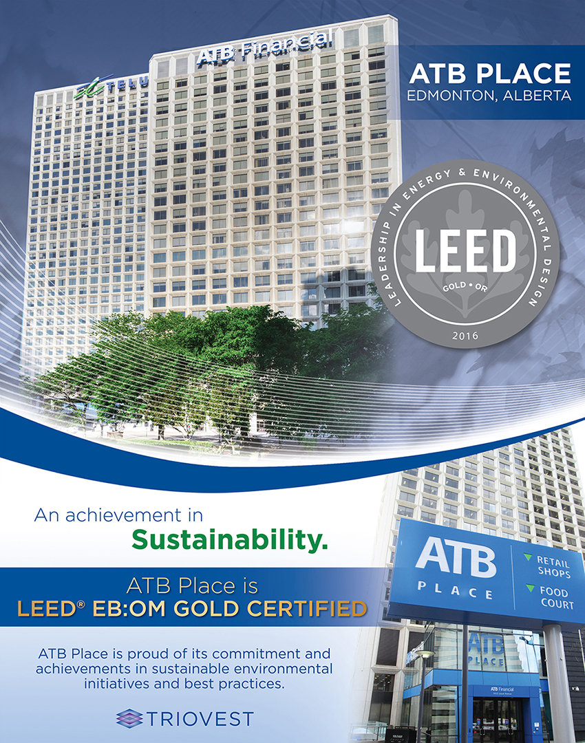 Atb Place Achieves Leed Ebom Gold Certification Triovest